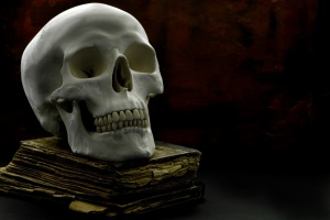 human skull with old book
